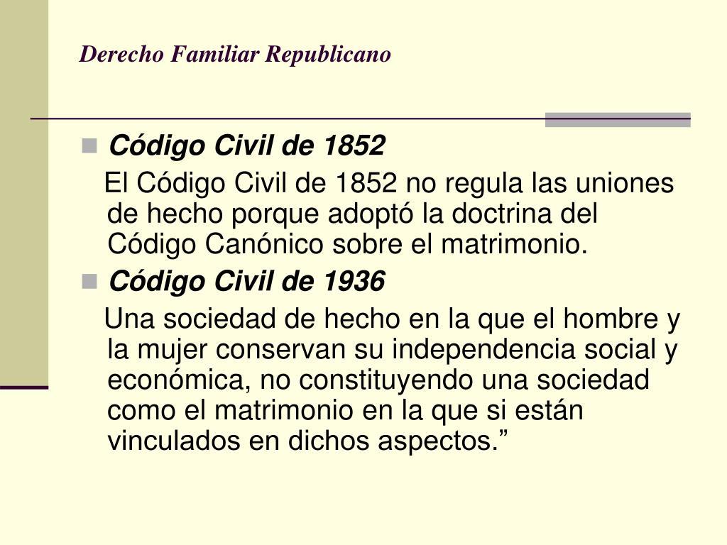 Derecho Familiar Republicano