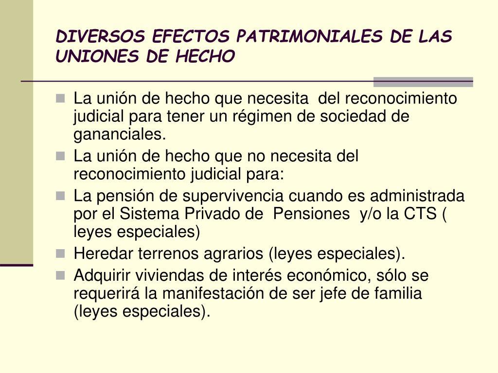 DIVERSOS EFECTOS PATRIMONIALES DE LAS UNIONES DE HECHO