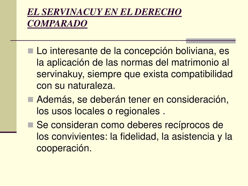 EL SERVINACUY EN EL DERECHO COMPARADO