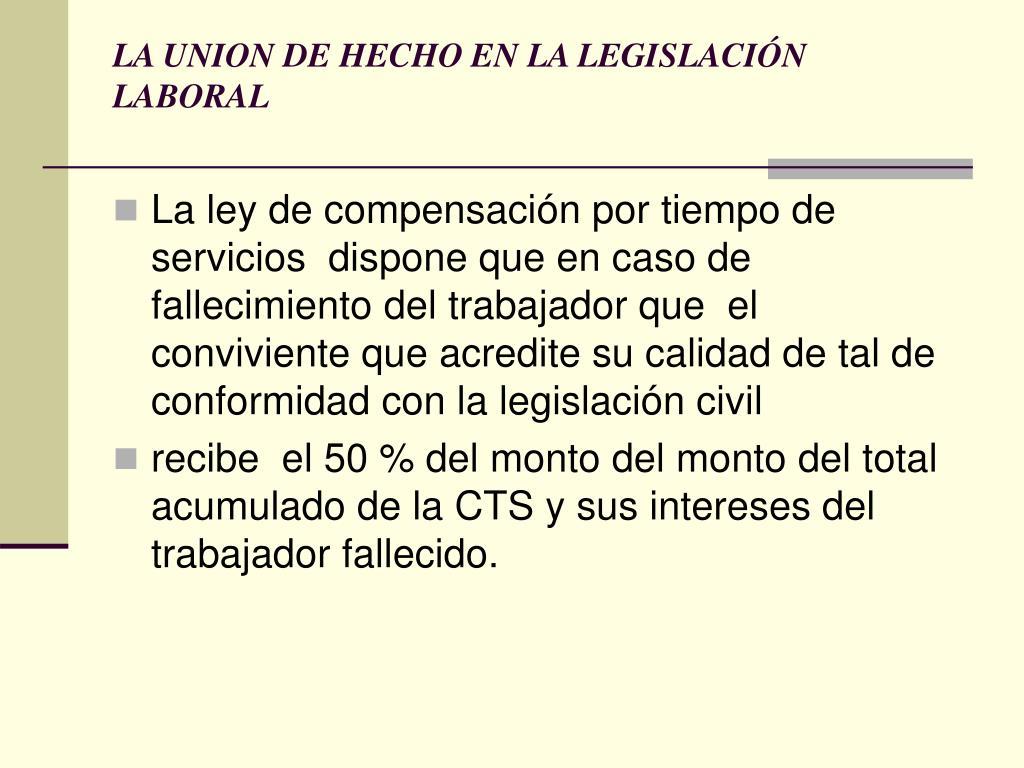 LA UNION DE HECHO EN LA LEGISLACIÓN LABORAL