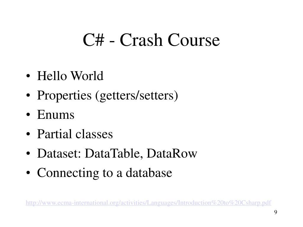 C# - Crash Course