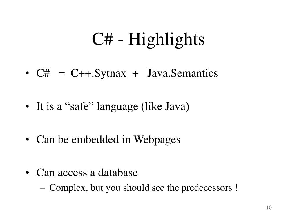 C# - Highlights