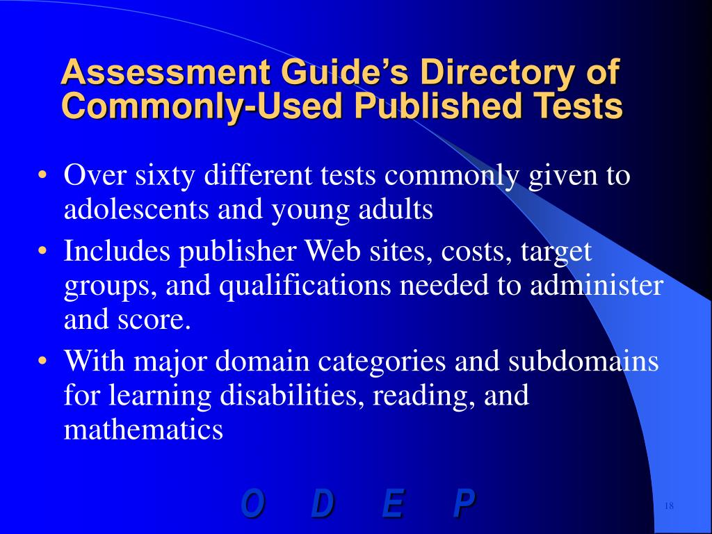 Assessment Guide's Directory of Commonly-Used Published Tests