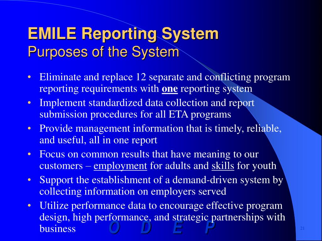EMILE Reporting System