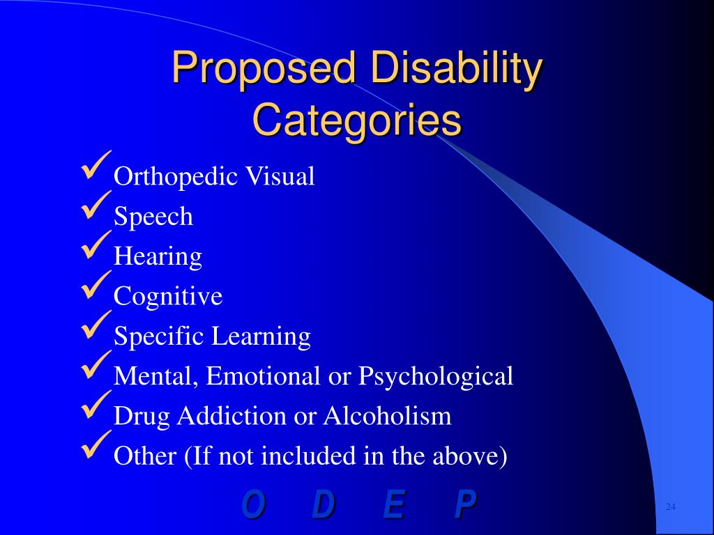 Proposed Disability Categories