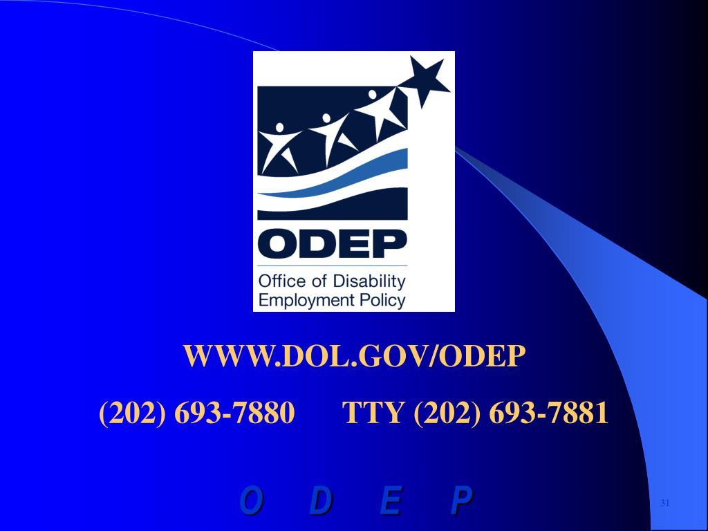 WWW.DOL.GOV/ODEP