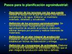 pasos para la planificaci n agroindustrial