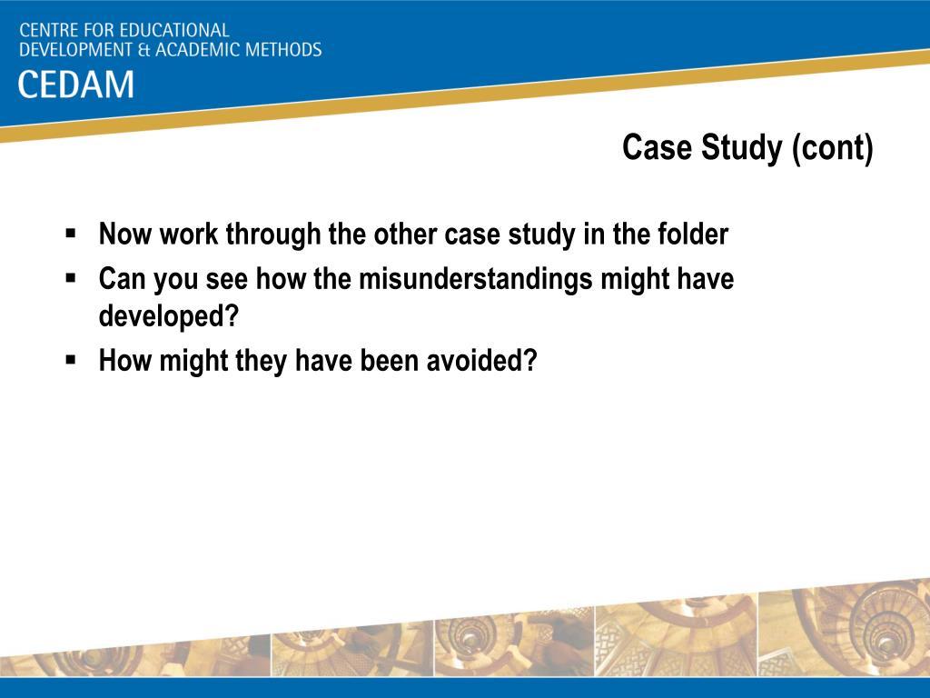 Case Study (cont)