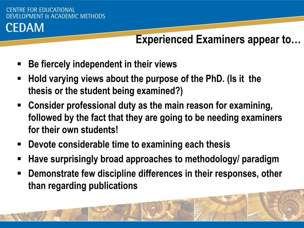 Experienced Examiners appear to…