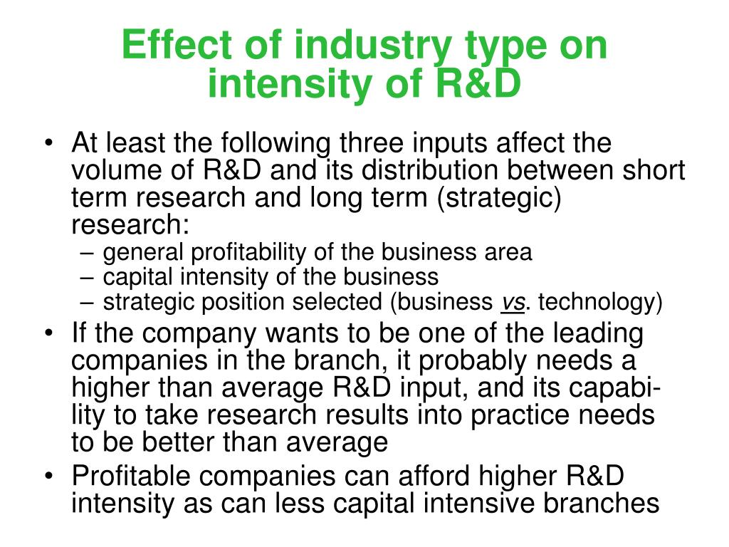 Effect of industry type on intensity of R&D