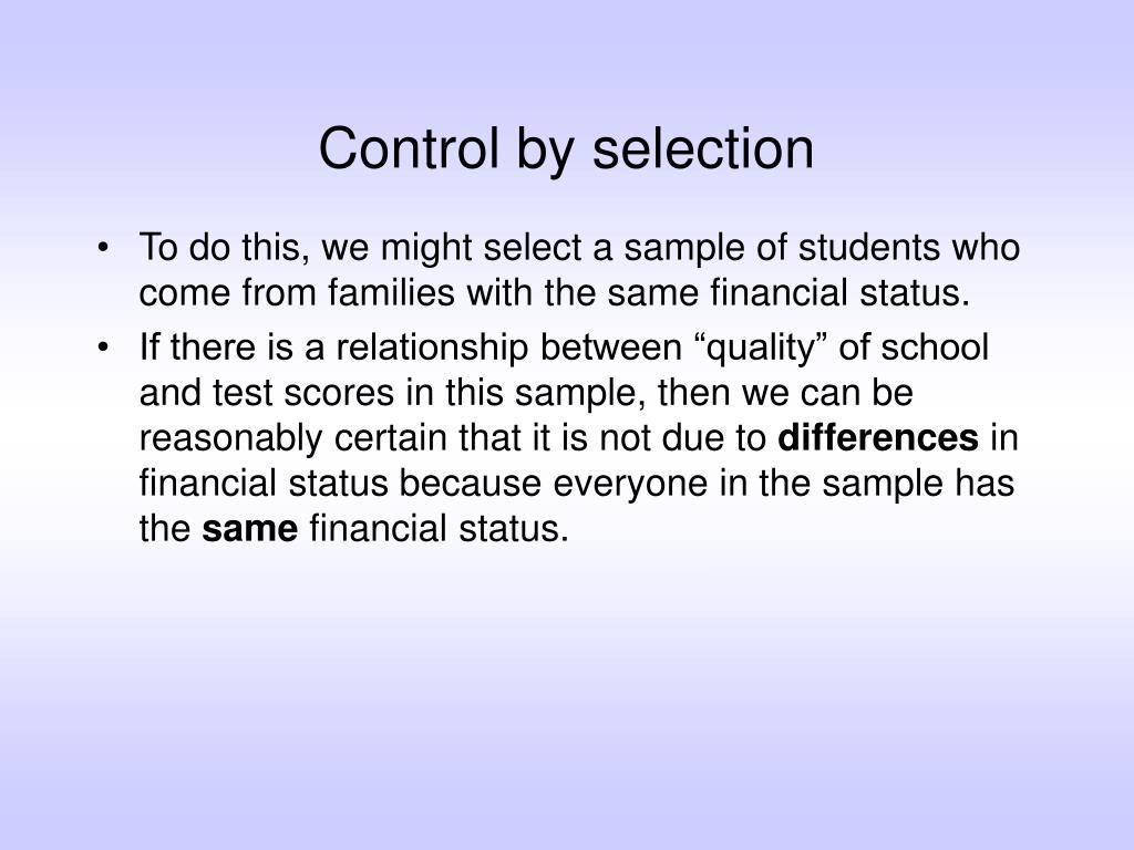 Control by selection
