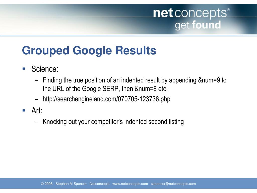 Grouped Google Results