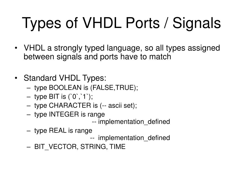 Types of VHDL Ports / Signals