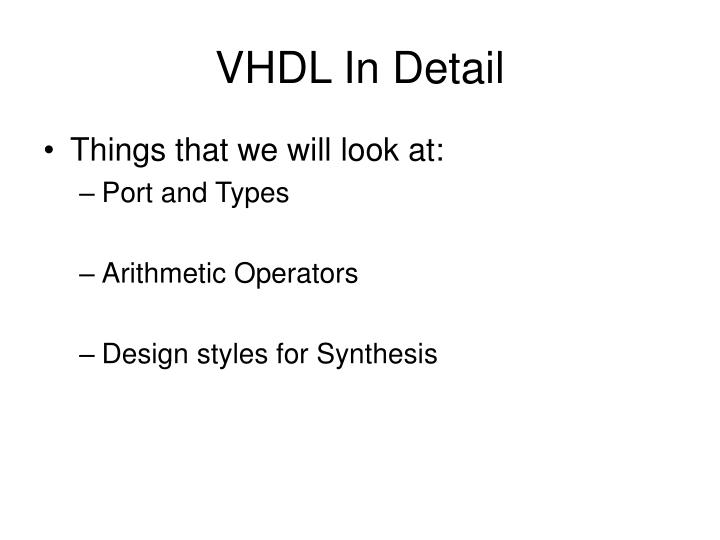 Vhdl in detail