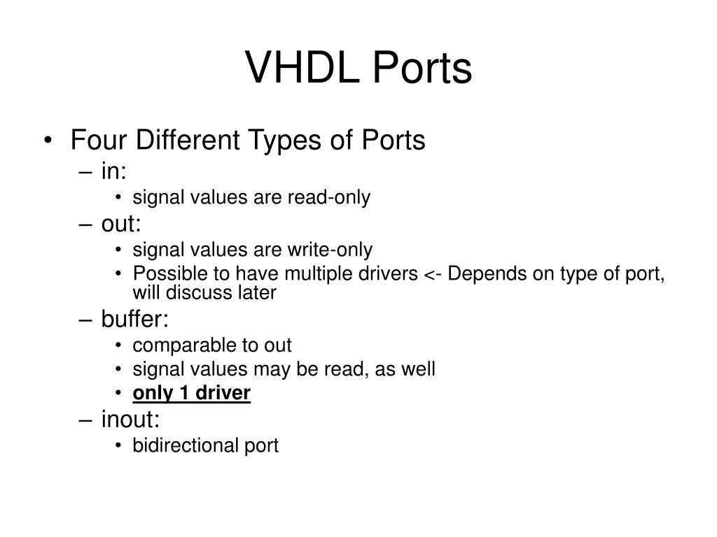 VHDL Ports