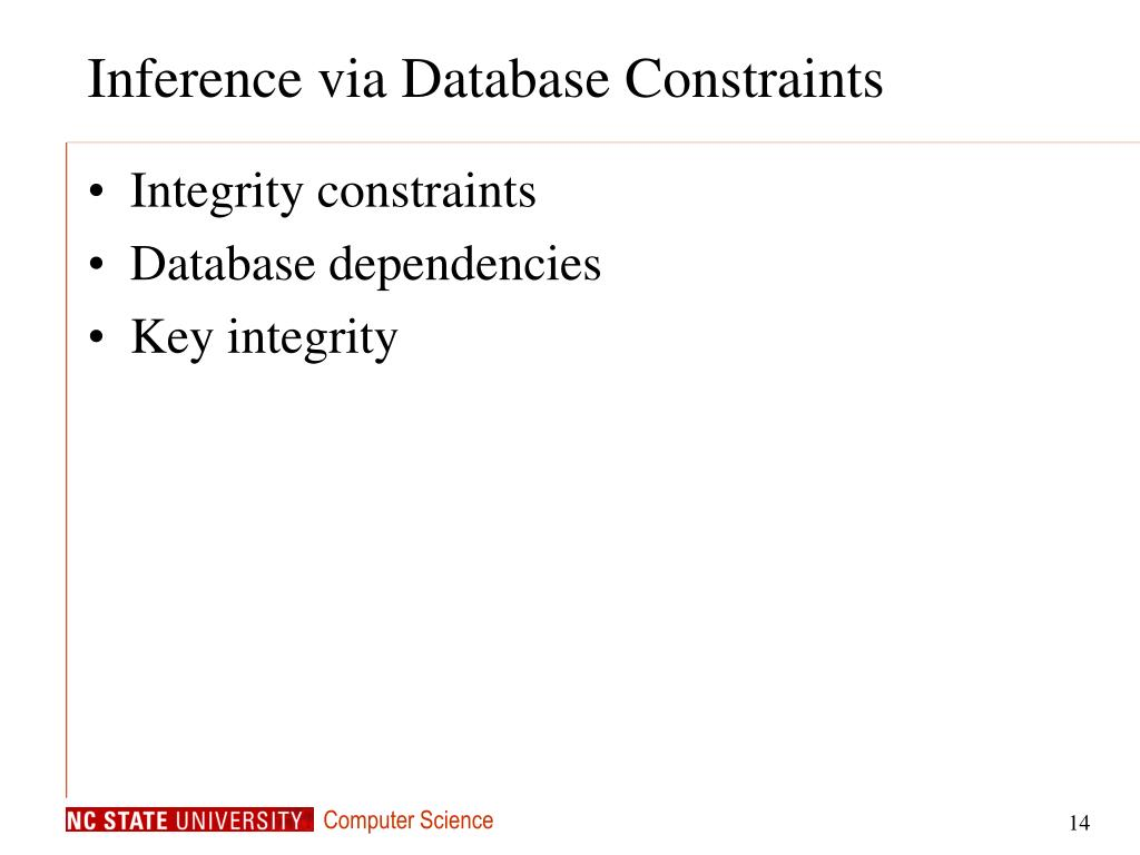 Inference via Database Constraints