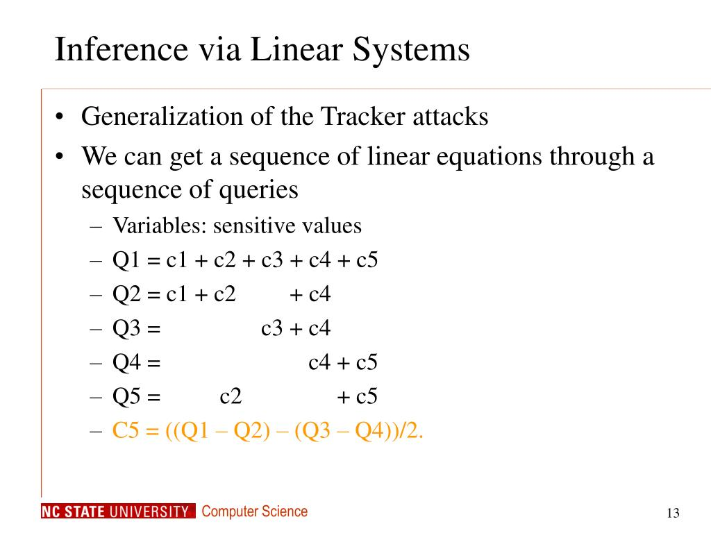 Inference via Linear Systems