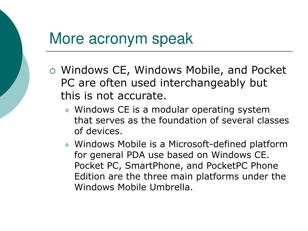 More acronym speak