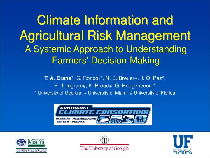 Climate information and agricultural risk management l.jpg