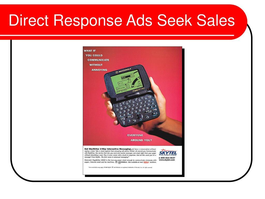 Direct Response Ads Seek Sales