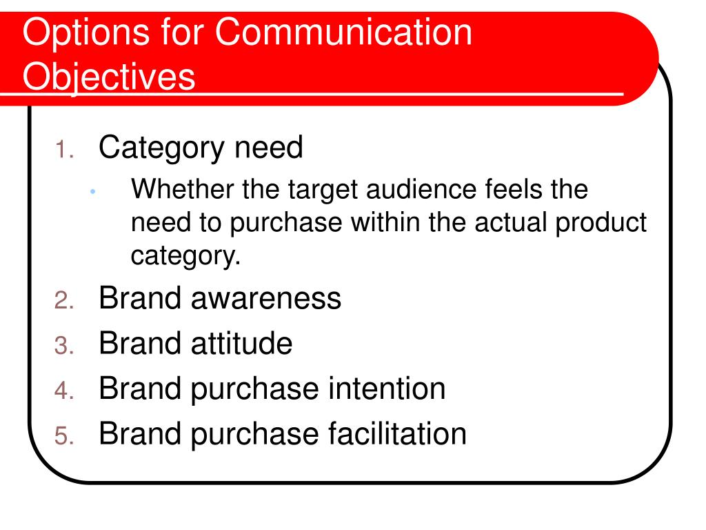 Options for Communication Objectives