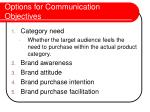 options for communication objectives26