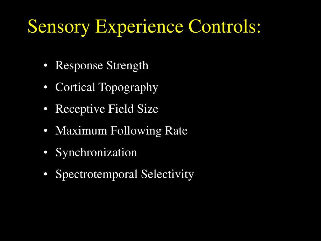Sensory Experience Controls: