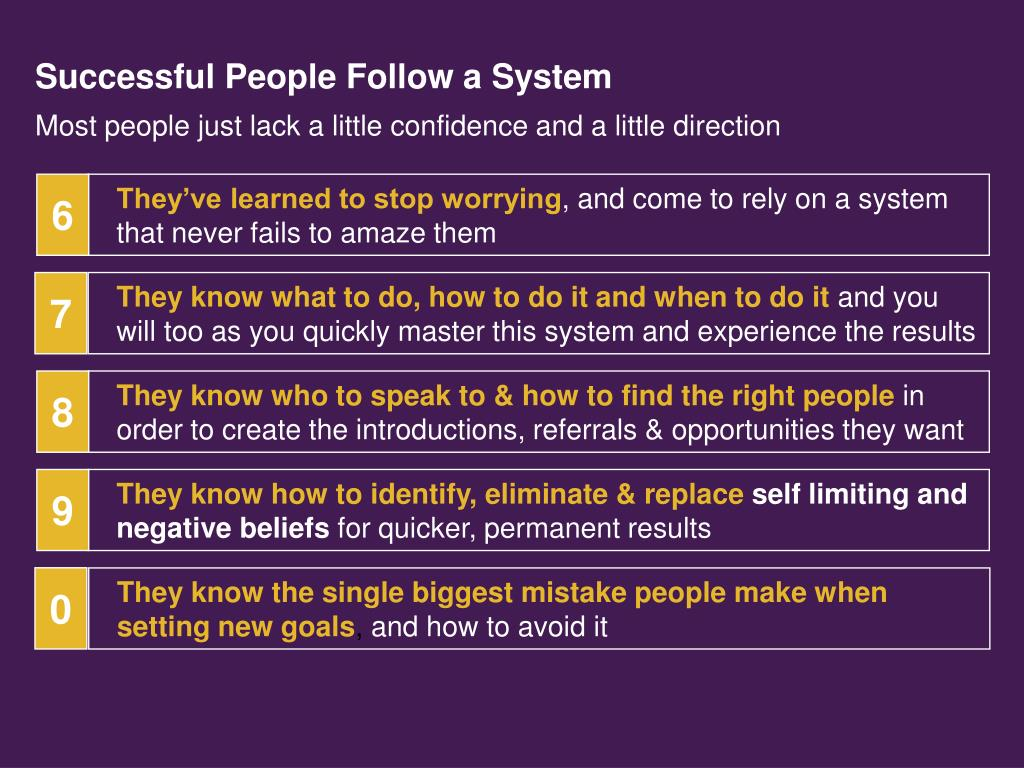 Successful People Follow a System