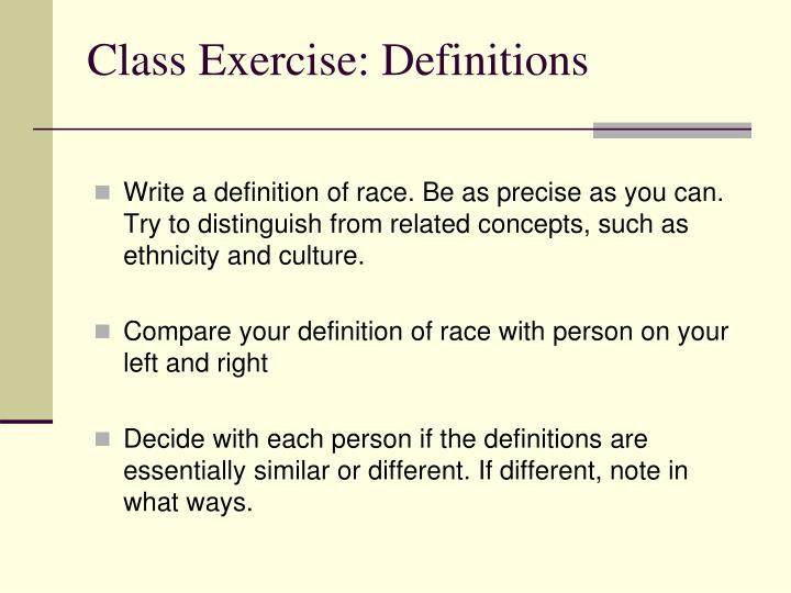 Class exercise definitions