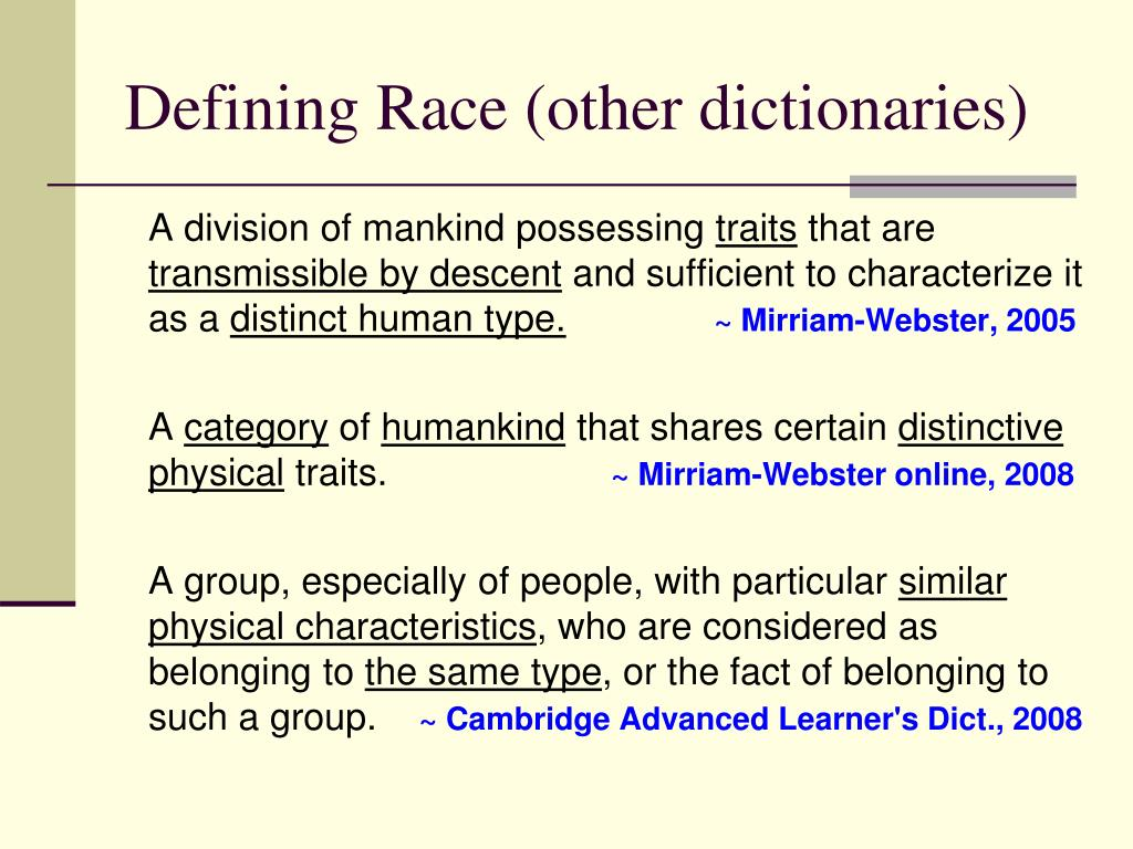 Defining Race (other dictionaries)