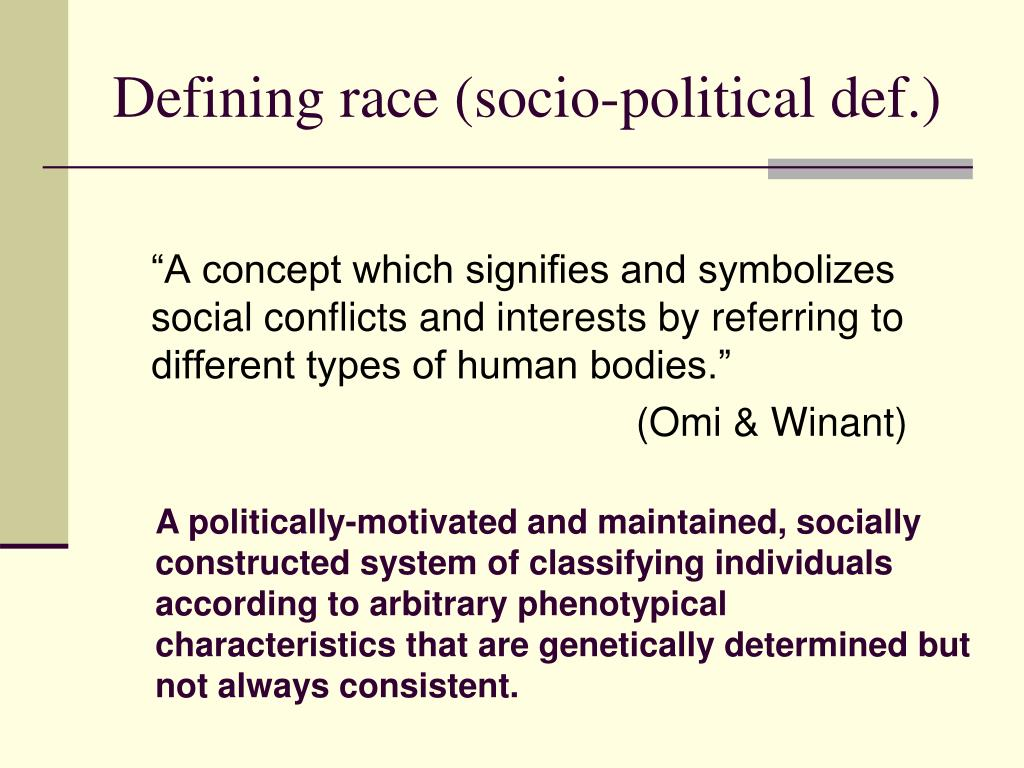 Defining race (socio-political def.)