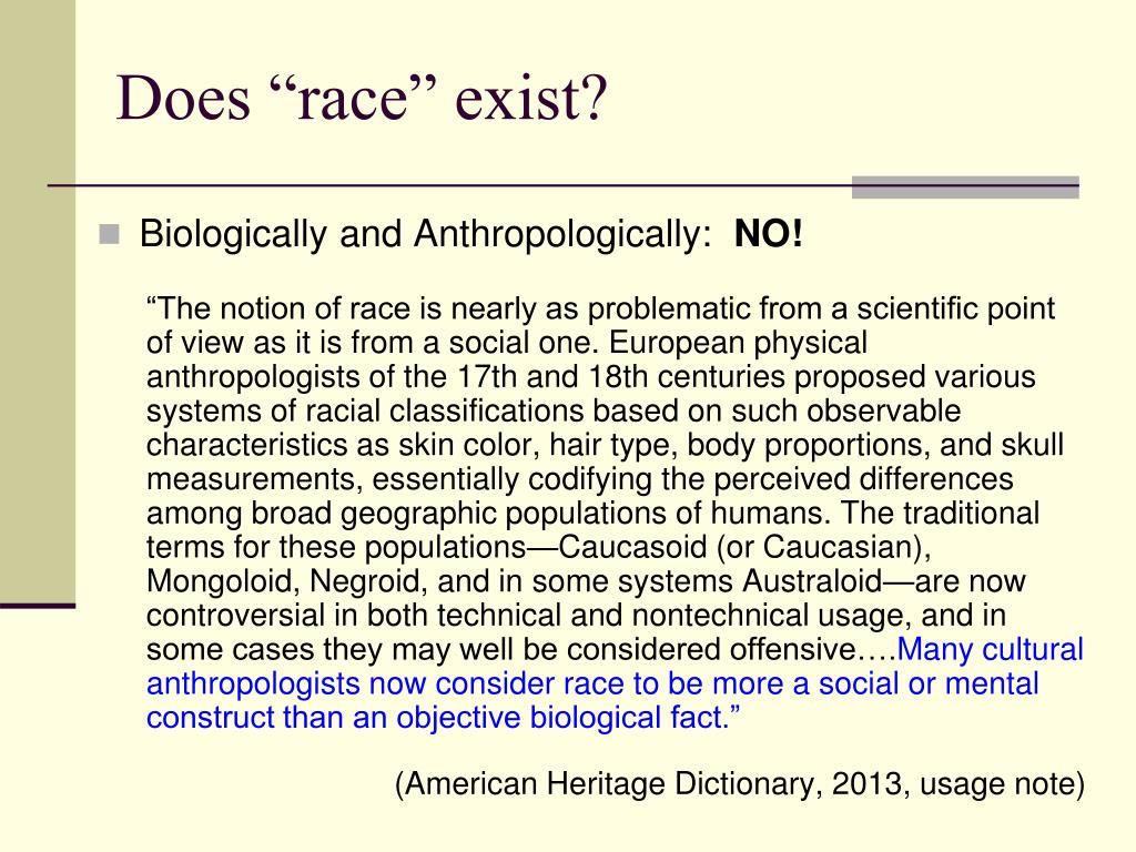 "Does ""race"" exist?"