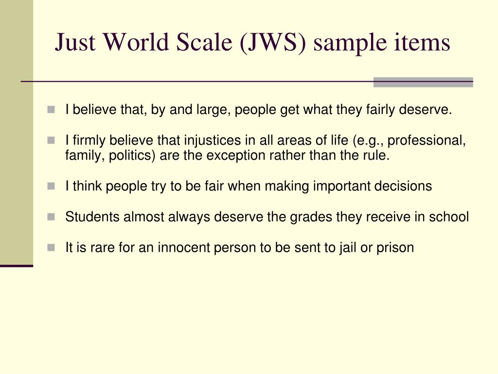 Just World Scale (JWS) sample items