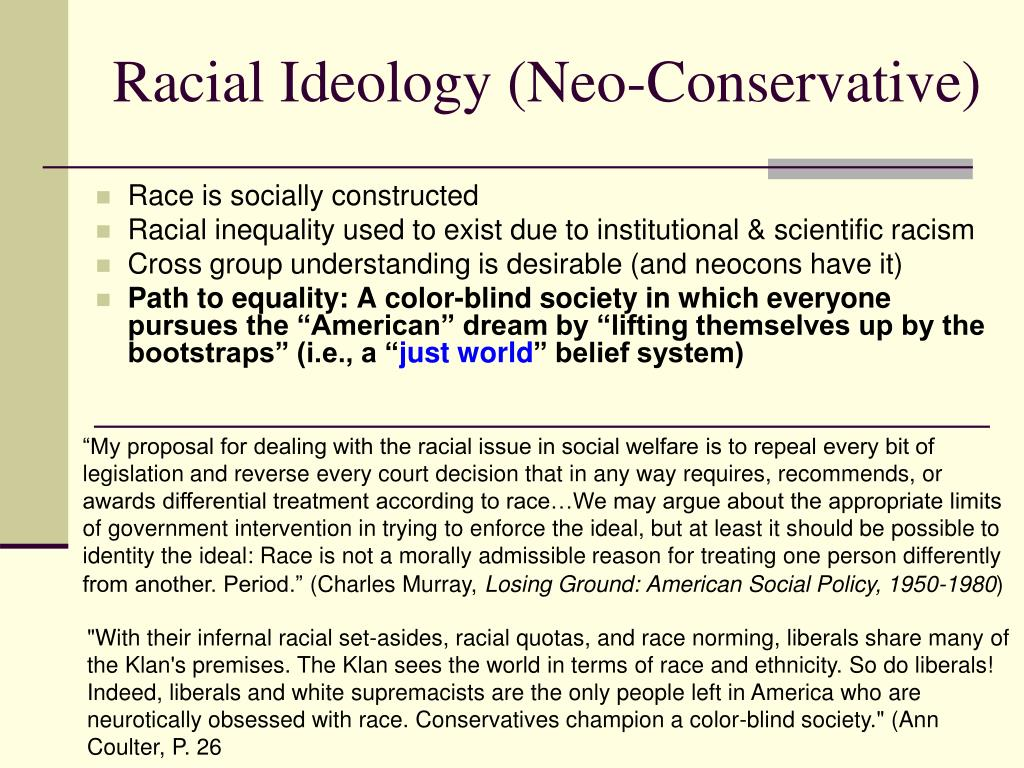 Racial Ideology (Neo-Conservative)