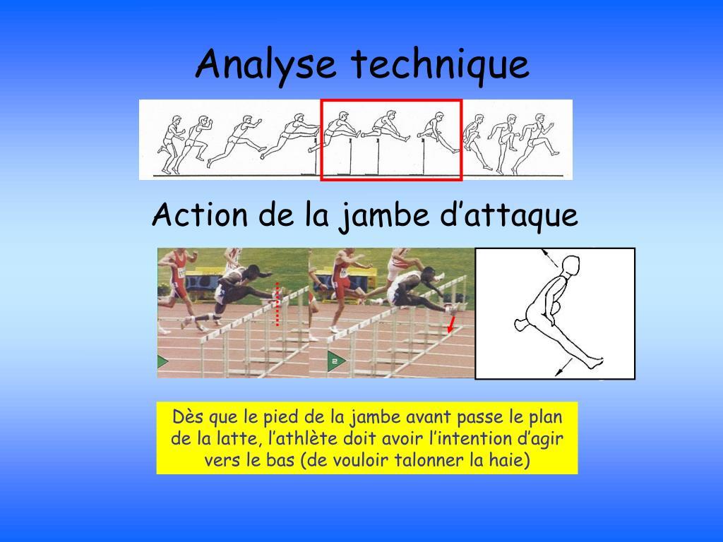 Dès que le pied de la jambe avant passe le plan de la latte, l'athlète doit avoir l'intention d'agir vers le bas (de vouloir talonner la haie)