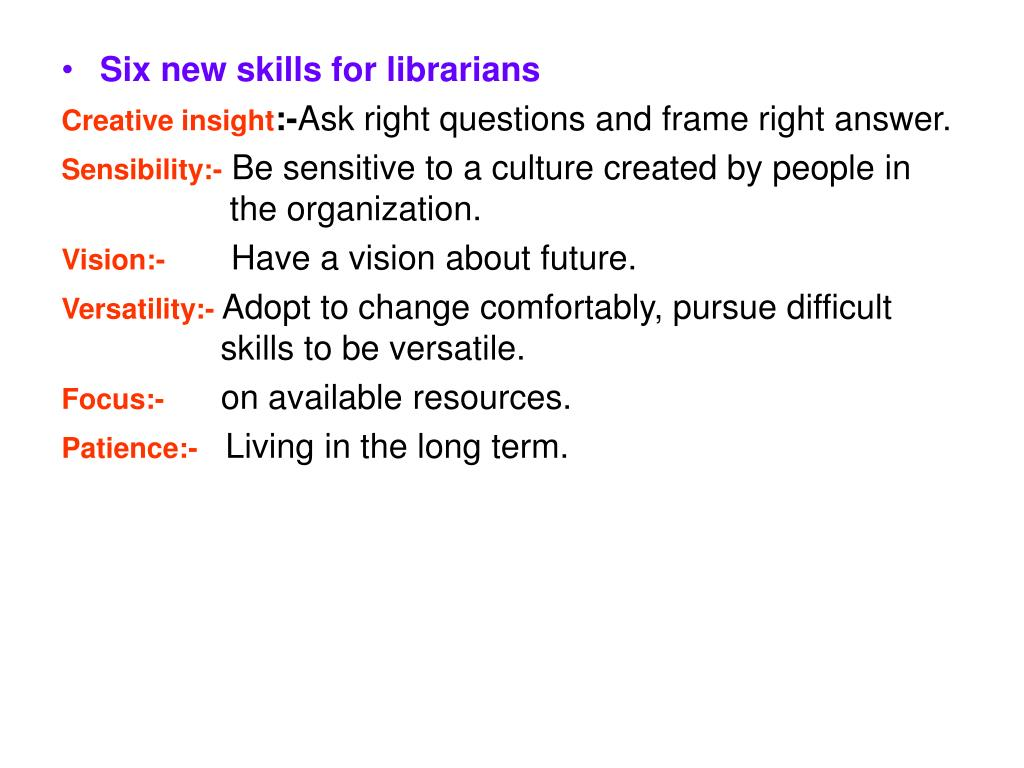 Six new skills for librarians