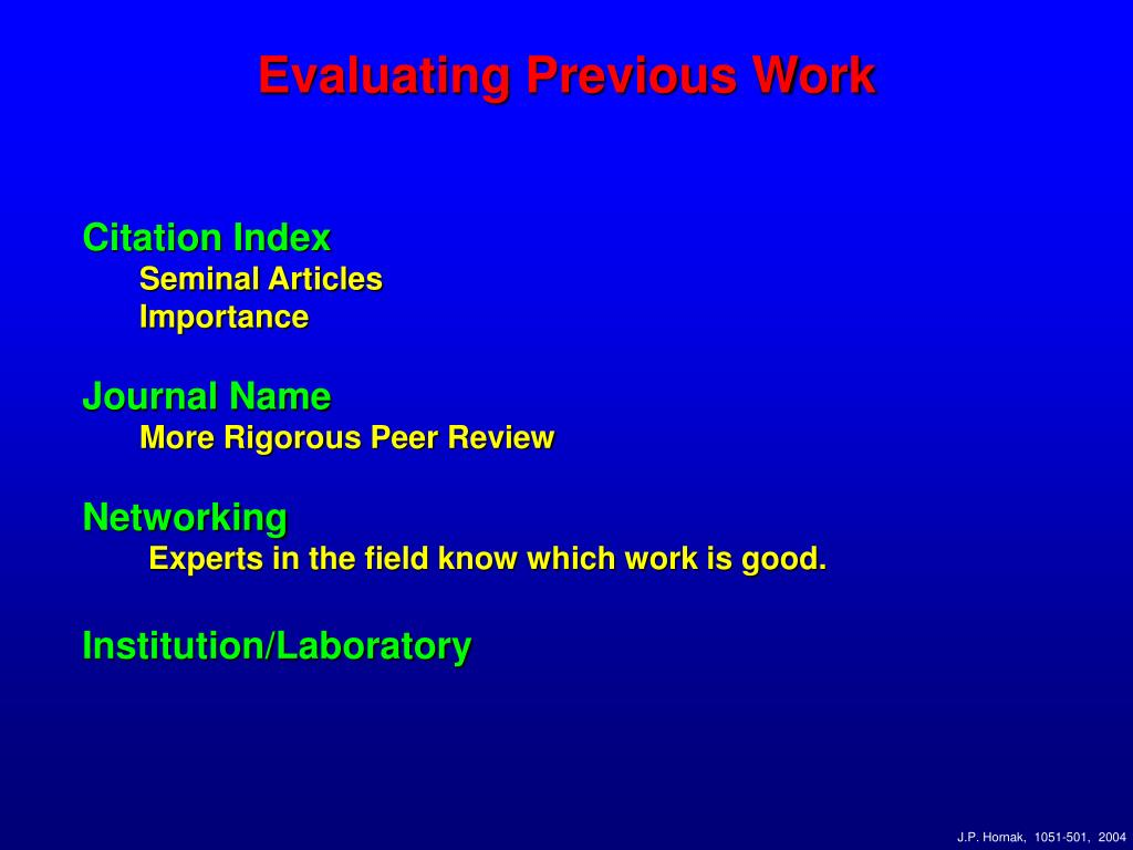 Evaluating Previous Work