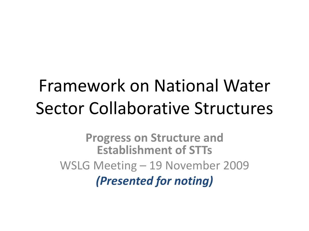 Framework on National Water Sector Collaborative Structures