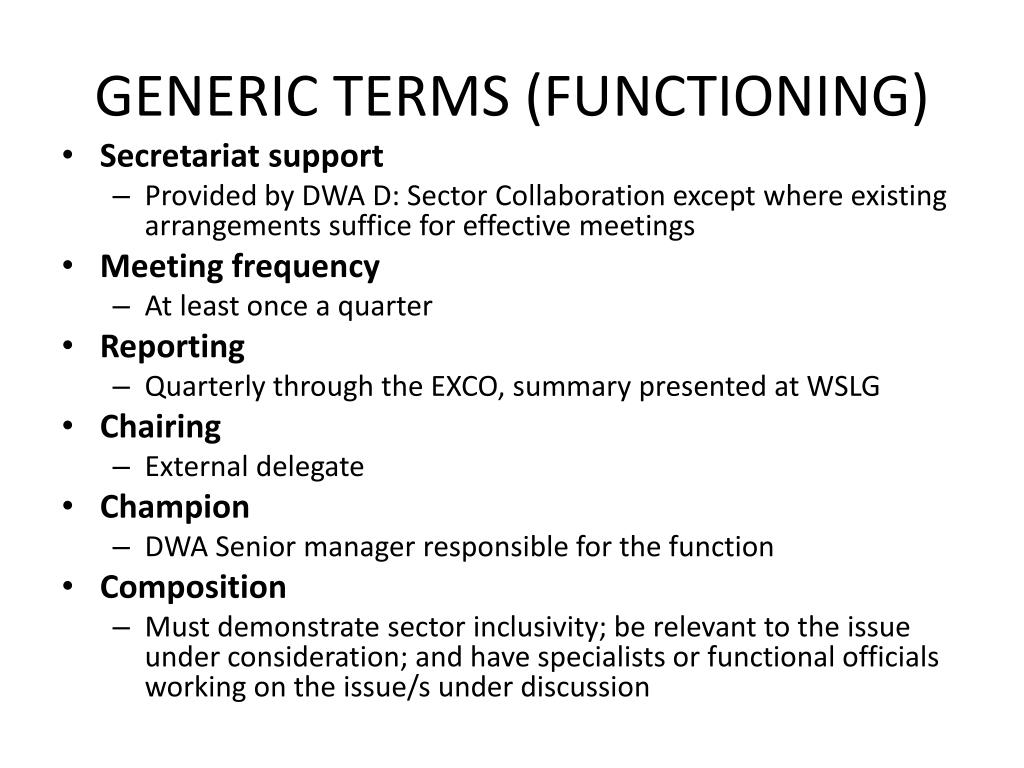 GENERIC TERMS (FUNCTIONING)