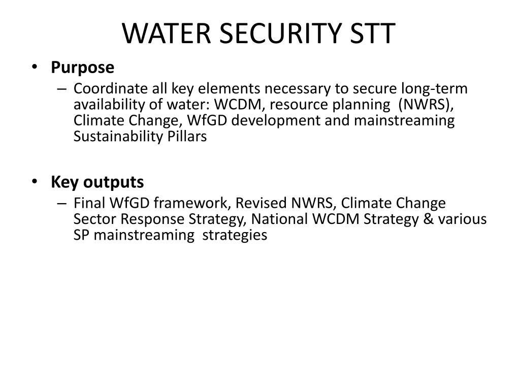 WATER SECURITY STT