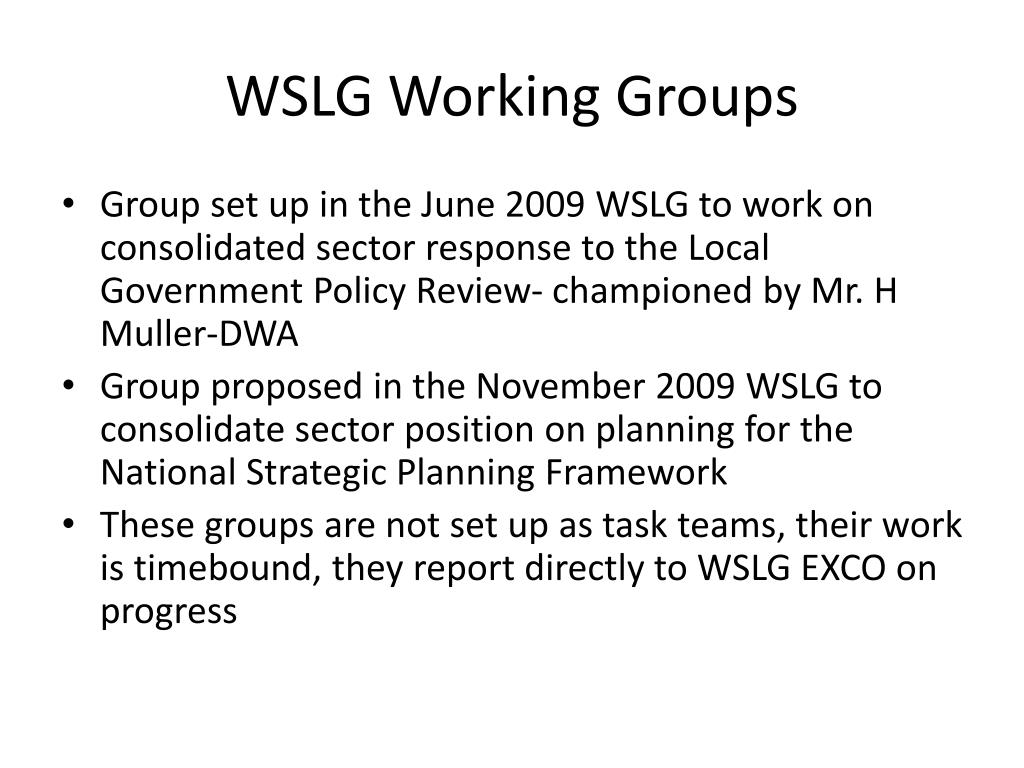 WSLG Working Groups