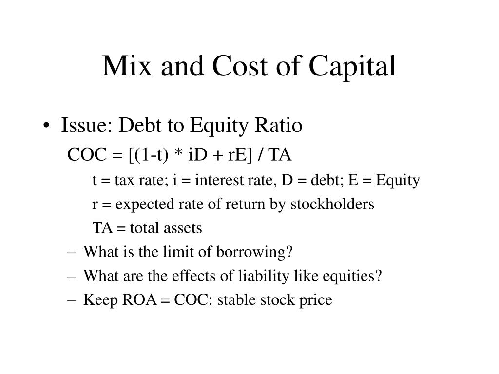 Mix and Cost of Capital