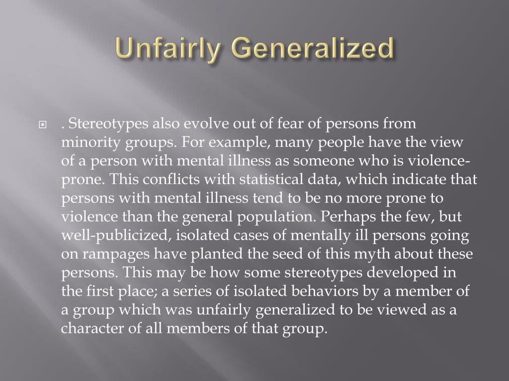 Unfairly Generalized