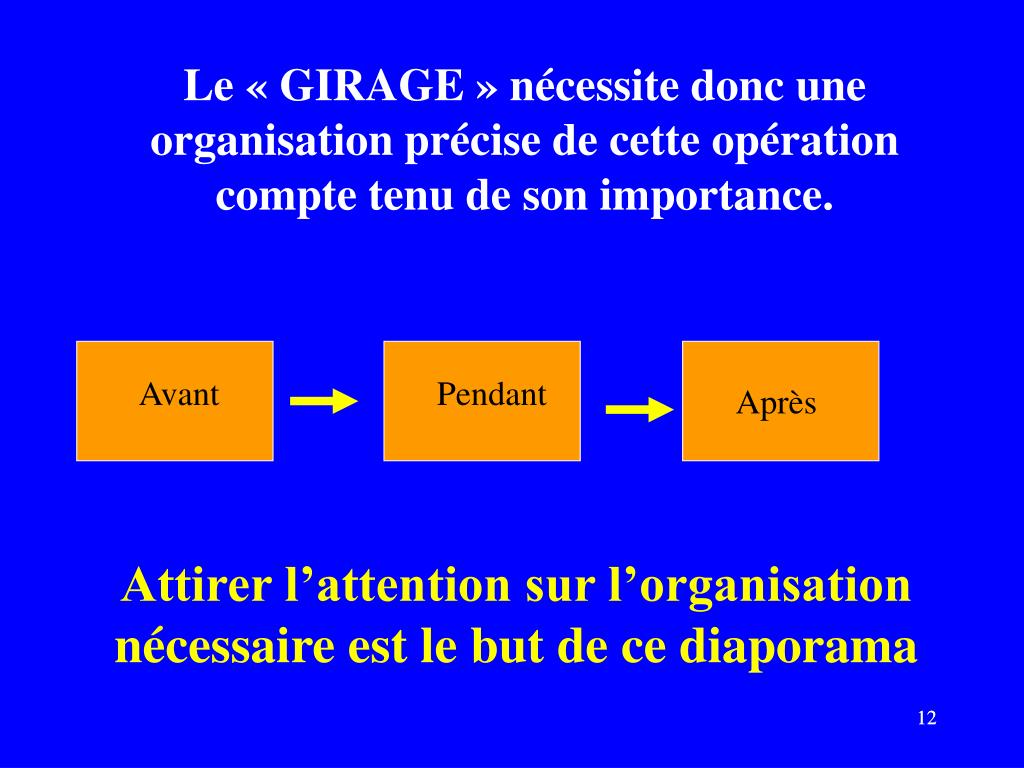Le «GIRAGE» nécessite donc une organisation précise de cette opération compte tenu de son importance.