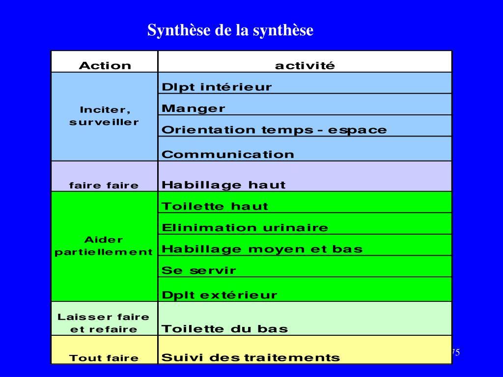 Synthèse de la synthèse