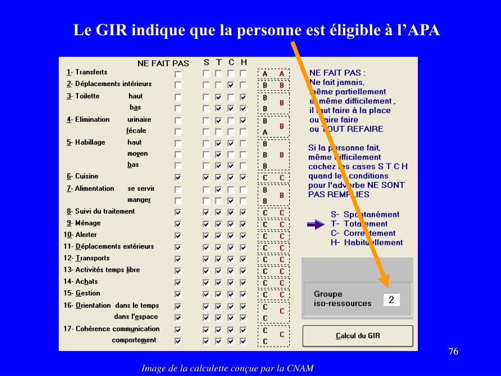 Le GIR indique que la personne est éligible à l'APA