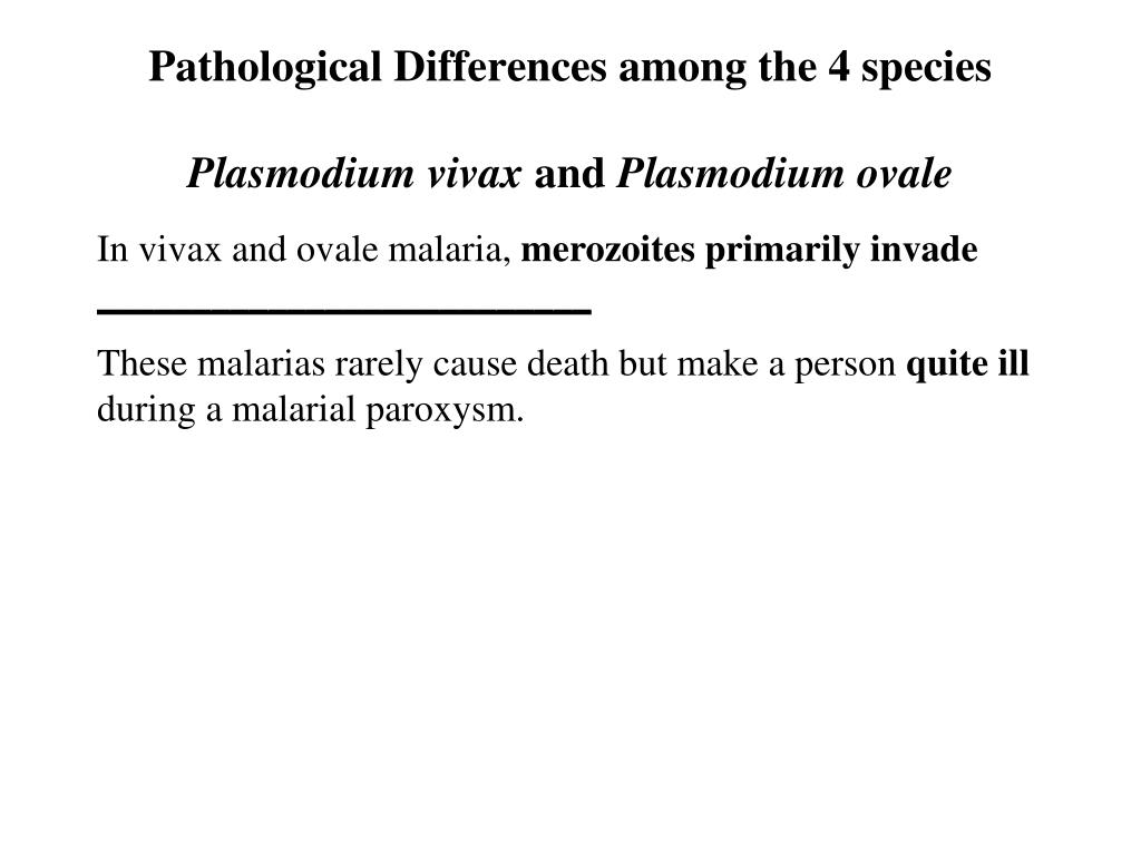 Pathological Differences among the 4 species