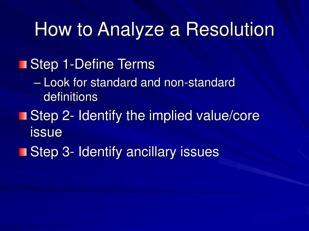 How to Analyze a Resolution