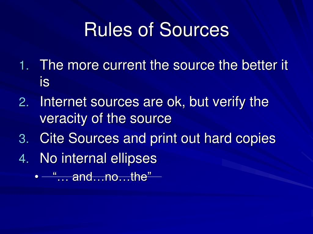 Rules of Sources