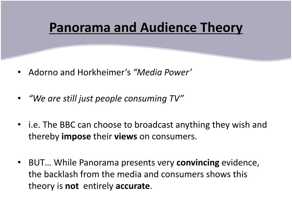 Panorama and Audience Theory